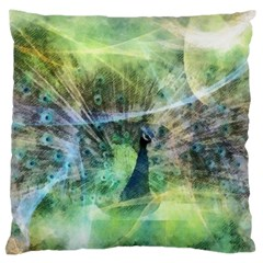 Digitally Painted Abstract Style Watercolour Painting Of A Peacock Large Cushion Case (two Sides) by Simbadda