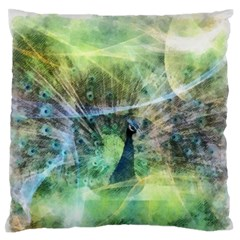 Digitally Painted Abstract Style Watercolour Painting Of A Peacock Large Flano Cushion Case (two Sides) by Simbadda