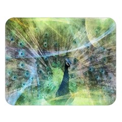 Digitally Painted Abstract Style Watercolour Painting Of A Peacock Double Sided Flano Blanket (large)  by Simbadda
