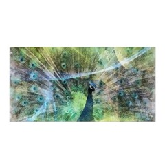 Digitally Painted Abstract Style Watercolour Painting Of A Peacock Satin Wrap