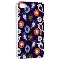 Cute Birds Pattern Apple Iphone 4/4s Seamless Case (white) by Simbadda