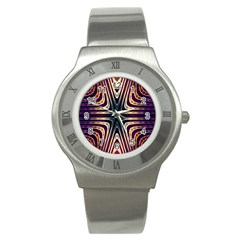 Colorful Seamless Vibrant Pattern Stainless Steel Watch by Simbadda