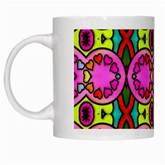 Love Hearths Colourful Abstract Background Design White Mugs by Simbadda