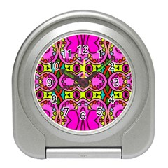 Love Hearths Colourful Abstract Background Design Travel Alarm Clocks by Simbadda