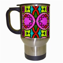Love Hearths Colourful Abstract Background Design Travel Mugs (white) by Simbadda