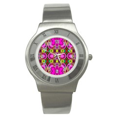 Love Hearths Colourful Abstract Background Design Stainless Steel Watch by Simbadda
