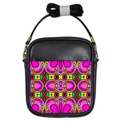Love Hearths Colourful Abstract Background Design Girls Sling Bags by Simbadda