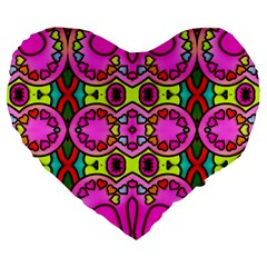 Love Hearths Colourful Abstract Background Design Large 19  Premium Heart Shape Cushions by Simbadda