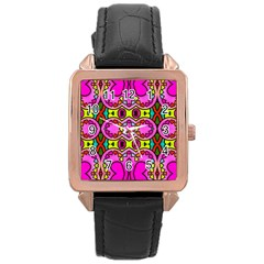 Love Hearths Colourful Abstract Background Design Rose Gold Leather Watch