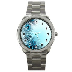 Feathery Background Sport Metal Watch by Simbadda
