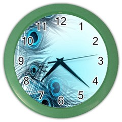 Feathery Background Color Wall Clocks by Simbadda