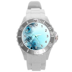 Feathery Background Round Plastic Sport Watch (l) by Simbadda