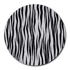 Black White Seamless Fur Pattern Round Mousepads by Simbadda