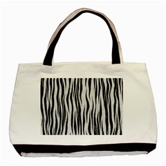 Black White Seamless Fur Pattern Basic Tote Bag by Simbadda
