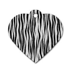 Black White Seamless Fur Pattern Dog Tag Heart (one Side) by Simbadda