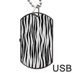 Black White Seamless Fur Pattern Dog Tag Usb Flash (two Sides) by Simbadda