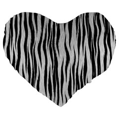 Black White Seamless Fur Pattern Large 19  Premium Heart Shape Cushions