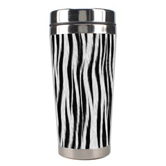 Black White Seamless Fur Pattern Stainless Steel Travel Tumblers by Simbadda