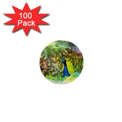 Peacock Digital Painting 1  Mini Buttons (100 Pack)  by Simbadda