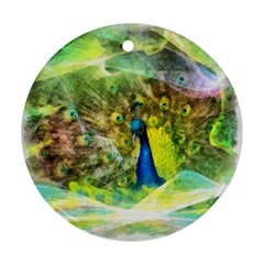 Peacock Digital Painting Round Ornament (two Sides) by Simbadda