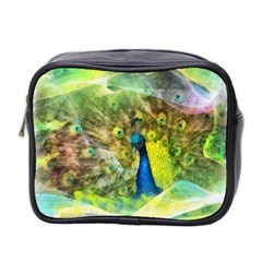 Peacock Digital Painting Mini Toiletries Bag 2 Side by Simbadda