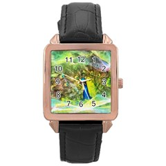 Peacock Digital Painting Rose Gold Leather Watch  by Simbadda