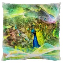 Peacock Digital Painting Standard Flano Cushion Case (one Side) by Simbadda