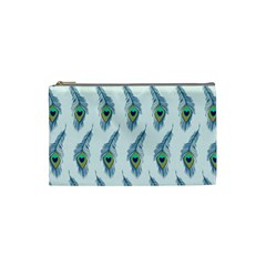 Background Of Beautiful Peacock Feathers Wallpaper For Scrapbooking Cosmetic Bag (small)  by Simbadda