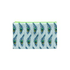 Background Of Beautiful Peacock Feathers Wallpaper For Scrapbooking Cosmetic Bag (xs) by Simbadda