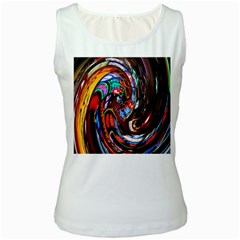 Abstract Chinese Inspired Background Women s White Tank Top