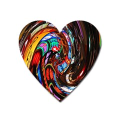 Abstract Chinese Inspired Background Heart Magnet by Simbadda