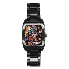 Abstract Chinese Inspired Background Stainless Steel Barrel Watch