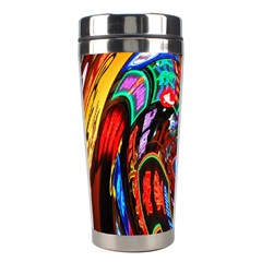 Abstract Chinese Inspired Background Stainless Steel Travel Tumblers by Simbadda
