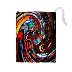 Abstract Chinese Inspired Background Drawstring Pouches (large)  by Simbadda