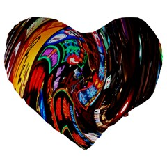 Abstract Chinese Inspired Background Large 19  Premium Flano Heart Shape Cushions by Simbadda