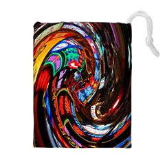 Abstract Chinese Inspired Background Drawstring Pouches (extra Large) by Simbadda