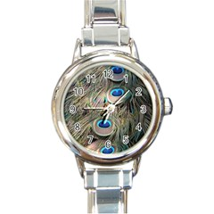 Colorful Peacock Feathers Background Round Italian Charm Watch
