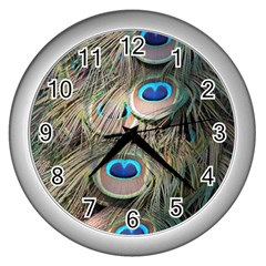 Colorful Peacock Feathers Background Wall Clocks (silver)  by Simbadda