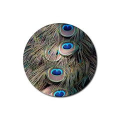 Colorful Peacock Feathers Background Rubber Coaster (round)  by Simbadda