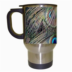 Colorful Peacock Feathers Background Travel Mugs (white) by Simbadda