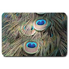 Colorful Peacock Feathers Background Large Doormat  by Simbadda