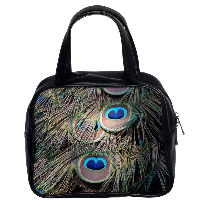 Colorful Peacock Feathers Background Classic Handbags (2 Sides)