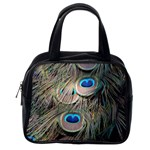 Colorful Peacock Feathers Background Classic Handbags (2 Sides) Back