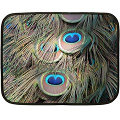 Colorful Peacock Feathers Background Fleece Blanket (mini) by Simbadda