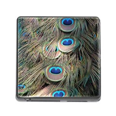 Colorful Peacock Feathers Background Memory Card Reader (square) by Simbadda
