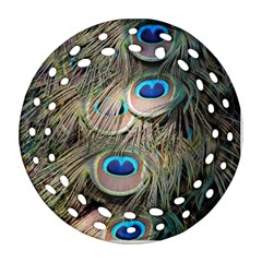 Colorful Peacock Feathers Background Round Filigree Ornament (two Sides)