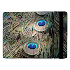 Colorful Peacock Feathers Background Samsung Galaxy Tab Pro 12 2  Flip Case by Simbadda