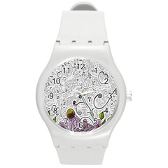 Abstract Pattern Round Plastic Sport Watch (m) by Simbadda
