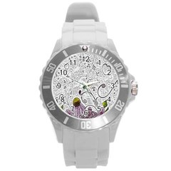 Abstract Pattern Round Plastic Sport Watch (l) by Simbadda
