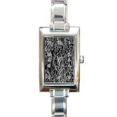 Gray Background Pattern Rectangle Italian Charm Watch by Simbadda